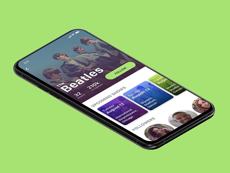 Mobile artist page design app ux ui
