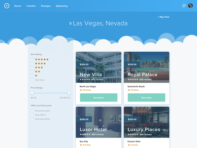 Travel Site Results Page ui ux web design