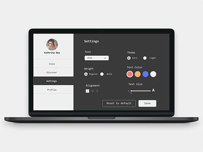 DailyUI007 - Settings Page uidesign dailyui designer figma ui shot designs design