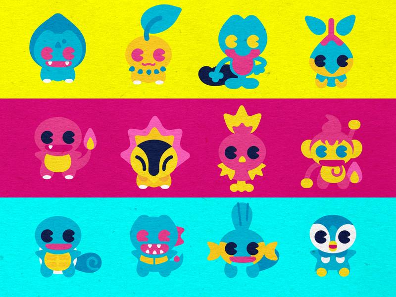 PKM starters design cmyk logo vector branding design branding starters pokemon starters icon design pokemon trainer pokemon pokémon dribbble illustration inkbyteatwork