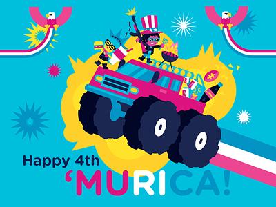 Happy 4th 'MURICA! dribbble illustration doritoburrito 2ndamendment fireworks monstertruck eagleland redwhiteandblue inkbyteatwork 4thofjulyweekend 4thofjuly