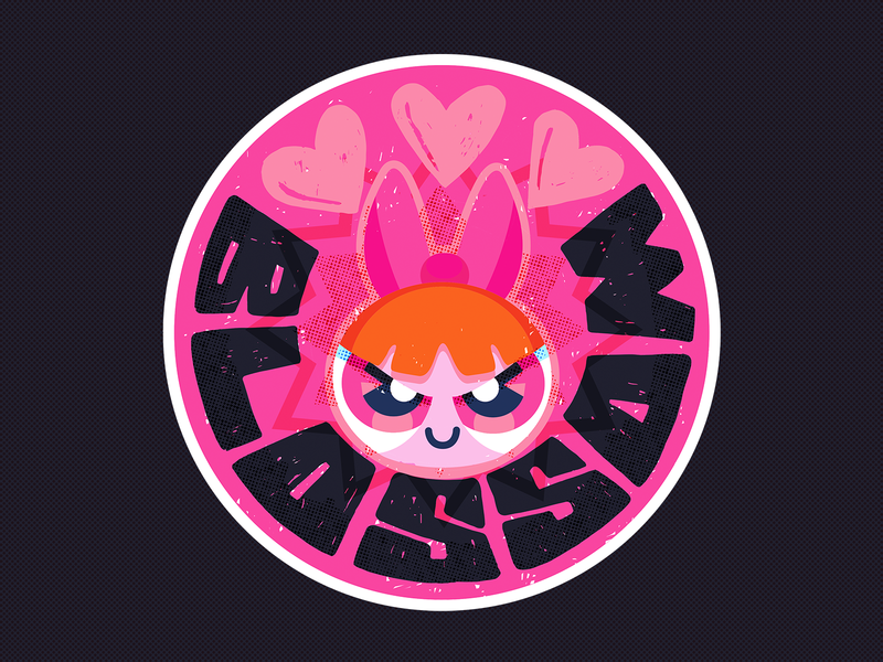 PPG-Blossom grunge texture typeface inking type professor utonium buttercup bubbles cartoons cartoon network cmyk inkbyte style halftone ink ppg heart icon powerpuff girls blossom typography inkbyteatwork