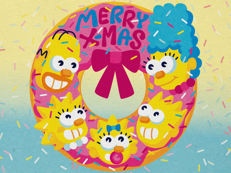 The Simpsons' Holiday Card sprinkles illustration donut doh cmyk dribbble holidaycard thesimpsons weekly warm-up dribbbleweeklywarmup inkbyteatwork