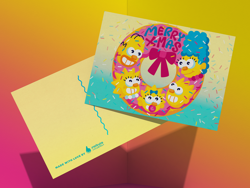 The Simpsons' Holiday Card the simpsons stationery mockup inkbytestyle maggie lisa bart marge homer wreath sprinkles donut doh x-mas holiday card postcard design thesimpsons cmyk illustration inkbyteatwork