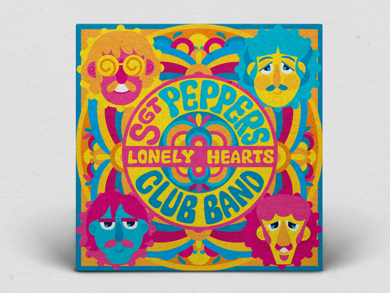 Sgt. Peppers Lonely Hearts Club Band yellow submarine icons music cover vinyl vinyl cover within you without you sgt peppers george paul john ringo the beatles cmyk inkbyteatwork