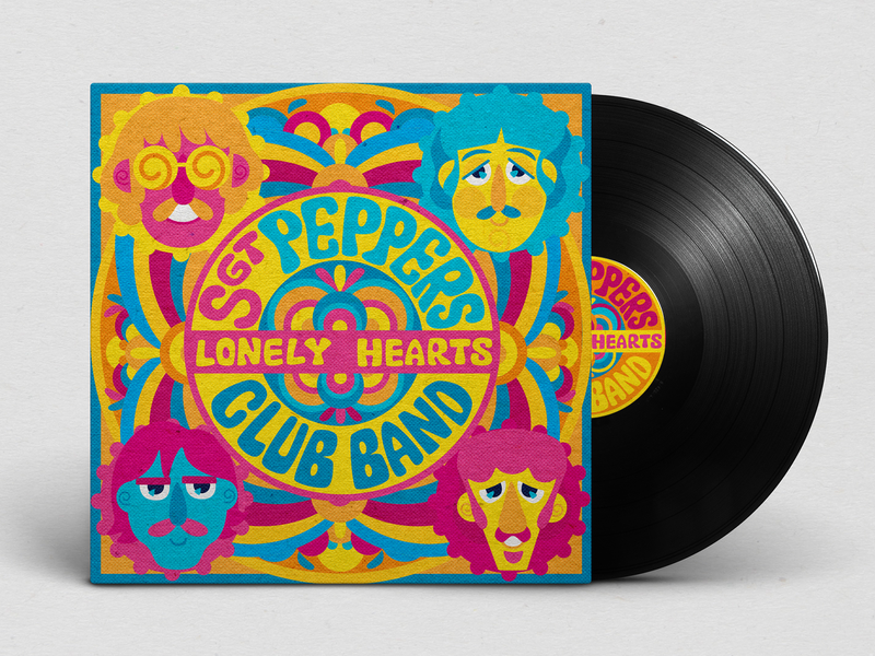 Classic Sgt. Peppers retro within you without you music vinyl cover vinyl modern design illustration redesign george paul john ringo cmyk inkbyteatwork