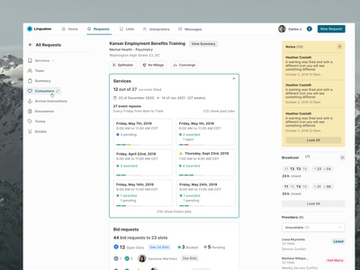 Sign Language Platform – Booking Overview booking web design admin panel design ux ui app dashboard web