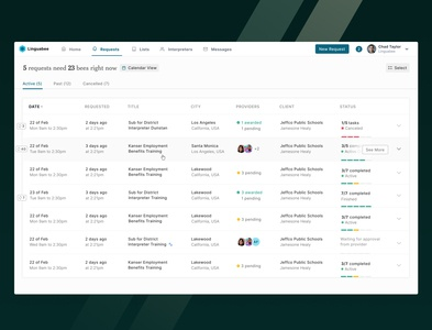 Request List – Translators Booking Platform dashboard ui calendar status providers translators web list dashboard app