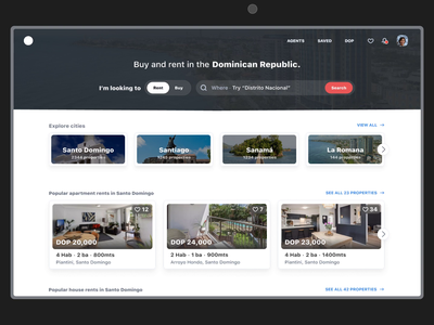 Real State - Homepage & Search website web design homepage buy rental rent quick search search ux ui search bar animation web house flat apartment real state
