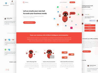 Stark.ai - Landing Page character design robot chatbot agency design illustration web red landing page