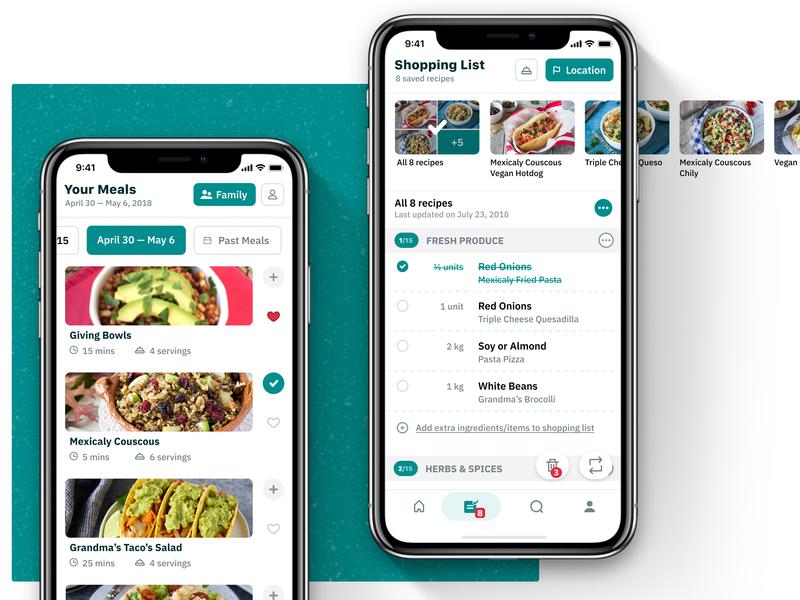 Recipe App – Shopping list and main calendar app recipe iphone health calendar android shopping list shopping meal iphone x green list mobile app mobile