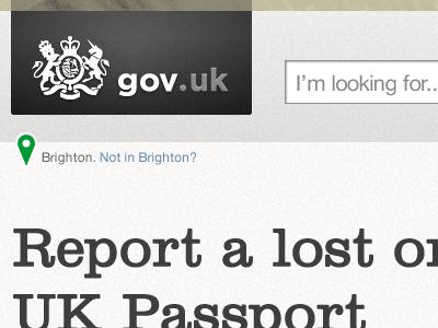 Header concept for a UK citizen tool page alphagov logo header geo location