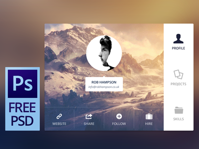 Free PSD - User Details free free psd free photoshop ui clean minimal icons interface awesome gui card ux web design buttons photography profile contact mountains