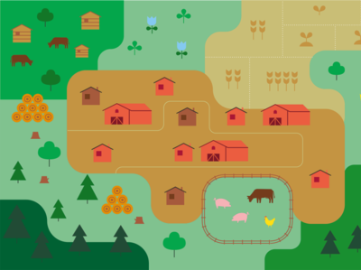 farmers and fields icons simple infographics illustration nature forest farming map vector
