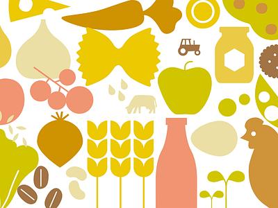 Bio Per Tutti hen plants fruit collage simple graphic veggies honey farm organic food