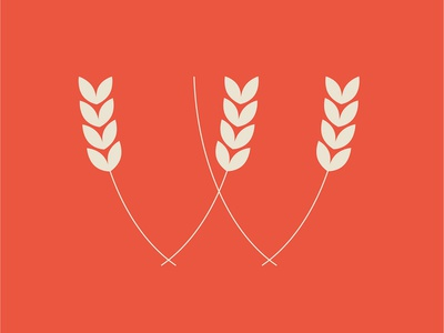 W for Wheat logo design wheat food letter illustration icon vector type