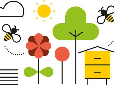 bee icons line art illustrator vector nature food illustration honey organic bee beekeeper icon set simple