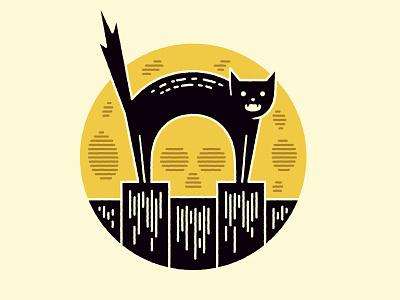 Scaredy Cat skull moon cat vector illustration