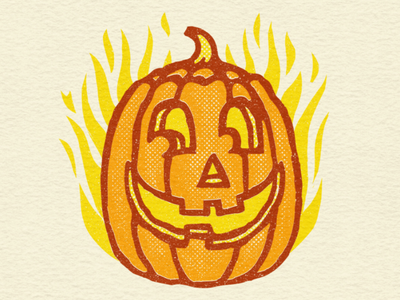 Shifty Pumpkin autumn fall nerves october halloween pumpkin retro art illustration