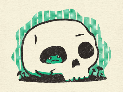 Rainy Day Toad cute spooky creepy toad skull toads skulls halftone drawing sketch illustration