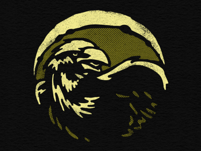 Moonlight Raven flat design halftone moonlight crow raven drawing illustration