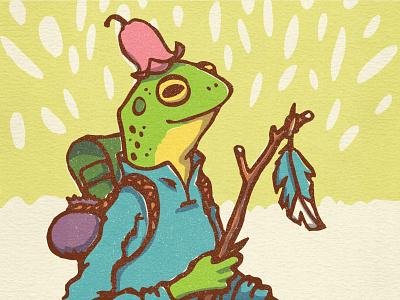 Frog Traveler adventure characters character design hiking frogs sketch vector illustration