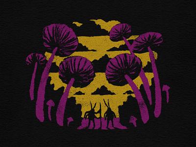 Ominous Journey mushroom skull art skulls skull journey bugs adventure travel sketch vector illustration