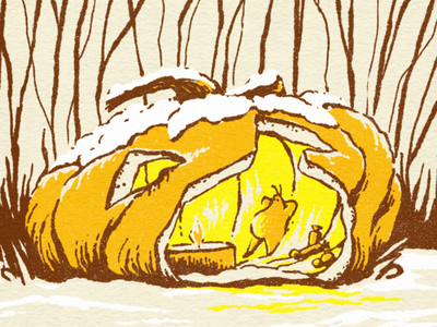 Fireside Slug pumpkin jack-o-lantern halloween slug kid art fantasy character design character illustration