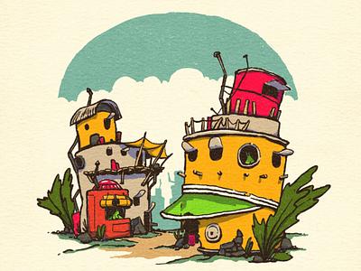Slug Town slugs junk creature design world building character design character illustration