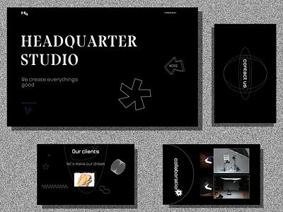 HEADQUARTER STUDIO - CREATIVE STUDIO edgy elegant minimalism art artsy brutalism web sketch creativestudio headquarter branding creative studio design typography bnw white black