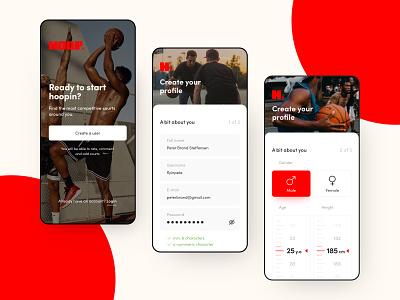 Street basketball app sign-up flow stepper street user input field input age height gender sign up signup basketball ux flat app ui
