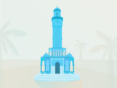 Izmir color design illustration tower izmir