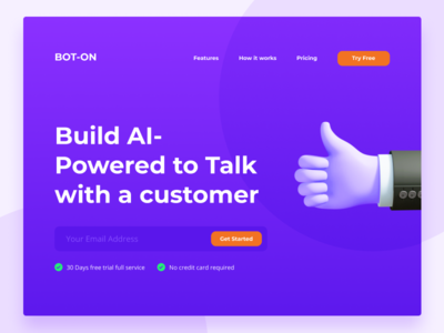 BOT-ON_Landing Page design userinterface website concept bot pricing typogaphy uiux brand style minimal product page product web website uidesign ui chat chatbot