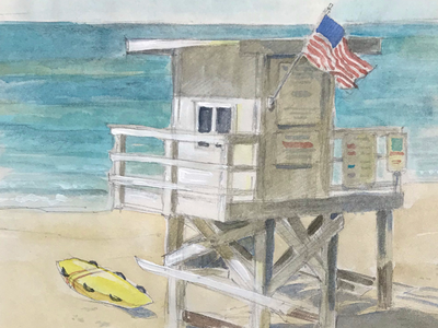 Lifeguard chair beach painting watercolor