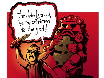Let's all respect and love our elders political cartoon illustration