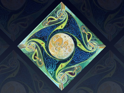 moon celtic painting acrylic
