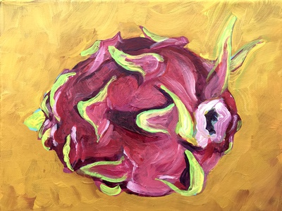 painting - work in progess chinese new year dragonfruit acrylic paint work in progress