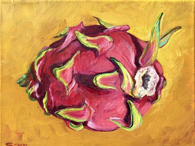 Dragronfruit - completed! dragonfruit painting acrylic