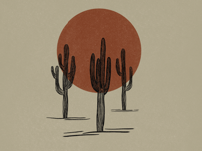 Saguaros and Red Sun Illustration lineart design simple design arizona sun cactus illustration cactus cacti saguaro simple illustration minimalist illustrator hand drawn simple minimalism minimal minimalistic illustration art illustration
