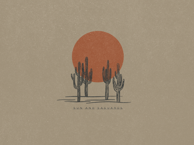 Sun and Saguaros Illustration minimalist logo simple design simple logo desert illustration desert cactus illustration saguaro cactus simple illustration minimalist illustrator hand drawn simple minimalism minimal minimalistic illustration art illustration