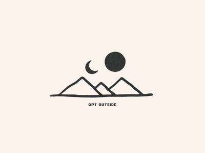 Opt Outside outside nature opt outside adventure explore mountain logo mountain mountains minimalist illustrator hand drawn simple minimalism minimal minimalistic illustration art illustration