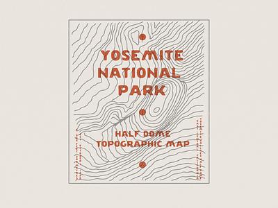 Yosemite Half Dome - Topographic Map national park topographic map topographic hike half dome yosemite map design maps map simple design simple illustration minimalist hand drawn illustrator simple minimalism minimal minimalistic illustration art illustration