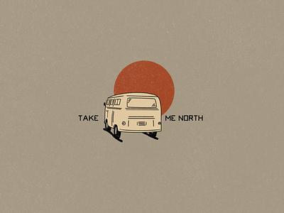 Take Me North Van logos logo adventure logo northern north explore road trip adventure vans van simple illustration hand drawn minimalist illustrator simple minimalism minimal minimalistic illustration art illustration
