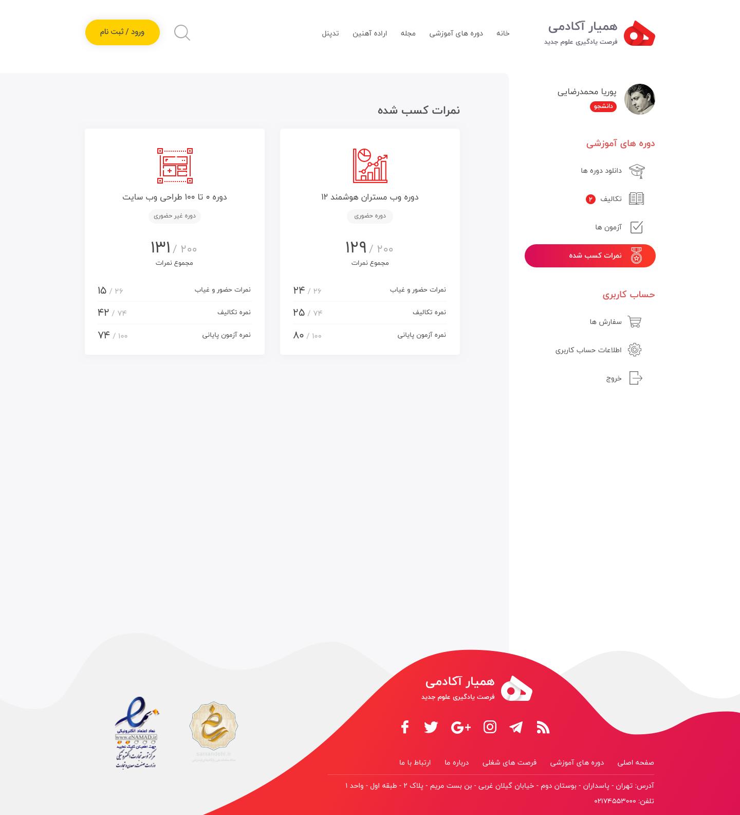 Hamyar dashboard course score