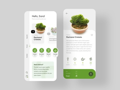 PlantSnap - Plants Shopping Application cactus shop green flat application ui card vector product design minimal app design application app design plants plant ux ui