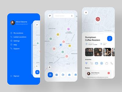 AroundMe - Location Base Service Application ui rondesign mobile app mobile ui mobile app design app location base service location lbs
