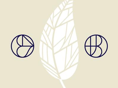 CNS & TJB seal initials leaf lines monogram