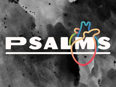 Psalms heart line icon watercolor