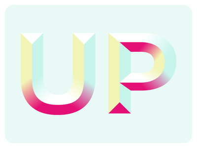 Up dimension gradient lettering type