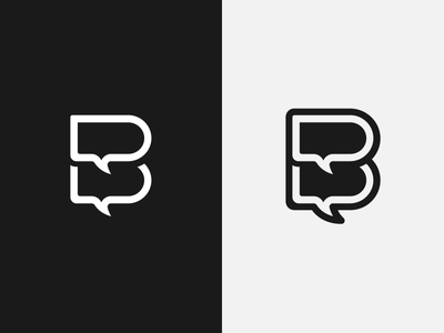 B Monogram chat app identity monogram logo illustrator design vector